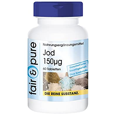 Iodine 150µg from Potassium Iodide - In Pure Form - No Additives or Excipients - 60 Vegetarian Tablets by fair & pure