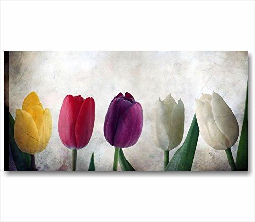 Quadri L&C ITALIA Tulipani Vintage | Quadro Moderno Made in Italy Stampa Tela Canvas 90 x 45 | Shabby Chic Soggiorno, Cucina, Salotto, Camera Letto, Bagno | decori Fiori Rossi Gialli Rustico Country