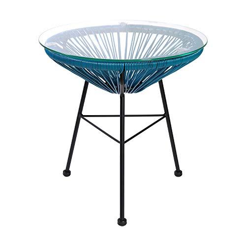 Retro Acapulco Tisch Mesa Beistellstisch Couchtisch Rattan Indoor Outdoor Farbe Blau - Blauer Couchtisch