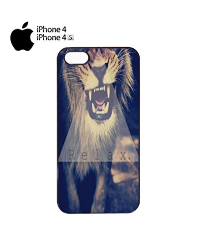 Relax Triangle Lion Leopard Tiger Animal Funny Hipster Swag Mobile Phone Case Back Cover Hülle Weiß Schwarz for iPhone 5&5s White Schwarz
