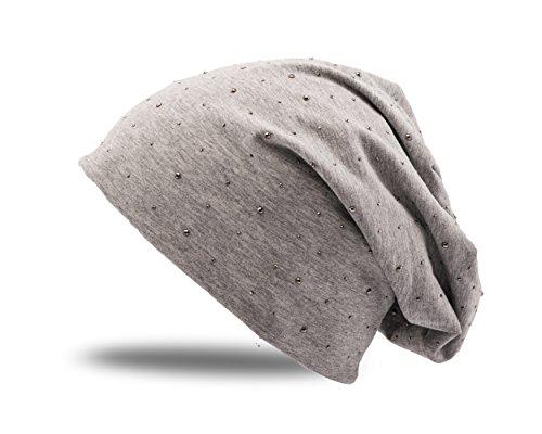 c591ccf7a89e6c Strass Steine Nieten Jersey Baumwolle elastisches Long Slouch Beanie Damen  Mütze Heather Wintermütze (7)