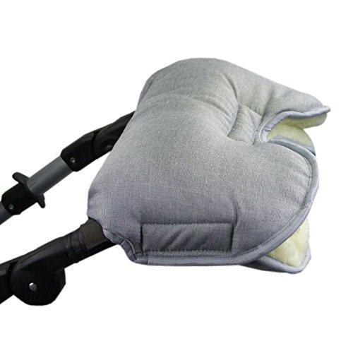 BAMBINIWELT universaler Muff/Handwärmer für Kinderwagen, Buggy, Jogger mit Wolle, meliert HELLGRAU