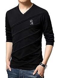Seven Rocks Men's Cotton V-neck Full sleeve T-Shirt (T18)