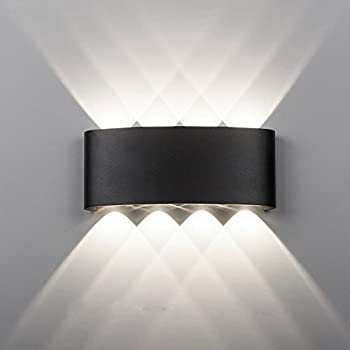 Modern Double Up Down Outdoor Wall Light GU10 IP65 Black or Stainless Steel 03