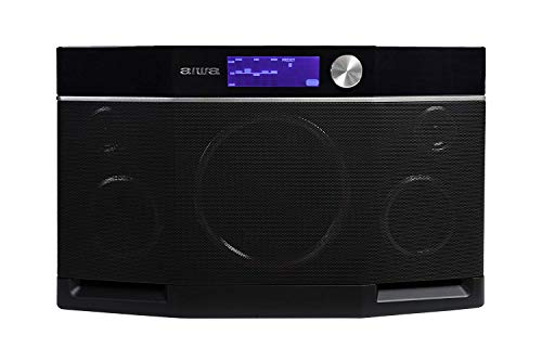 Aiwa Exos-9 Bluetooth Lautsprecher, Outdoor Boombox 6.5\'\' Subwoofer, Kabellose Lautsprecher, Stereo Sound, Verzerrungsfreie Laute Musik, Grafischer Equalizer NFC-Anschluss 9 Stunden Spielzeit Schwarz