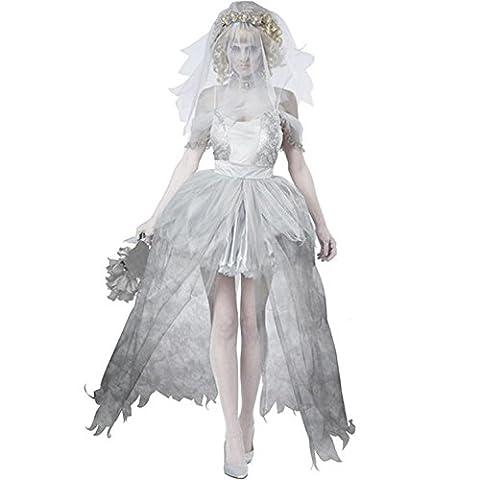 Damen Geisterbraut Kostüm für Halloween Karneval Fasching Kleid mit Schleier Cosplay Set