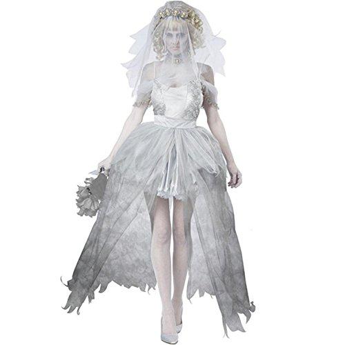 Damen Geisterbraut Kostüm für Halloween Karneval Fasching Kleid mit Schleier Cosplay (Batgirl Frauen Für Kostüm)