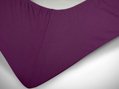 npluseins klassisches Jersey Spannbetttuch - erhältlich in 34 modernen Farben und 6 verschiedenen Größen - 100% Baumwolle, 70 x 140 cm, lila - 6