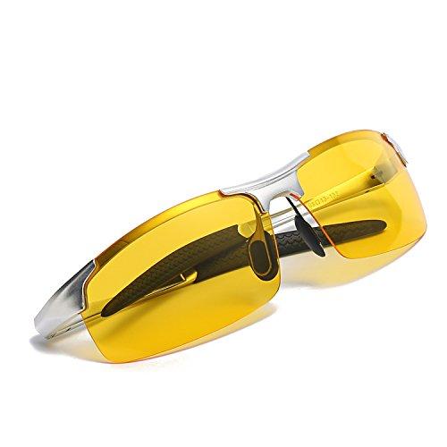 Gafas polarizadas HD de la visión nocturna de Deportivas Style para conducir las gafas de sol antideslumbrantes de la lente amarilla (pladeado, pladeado)