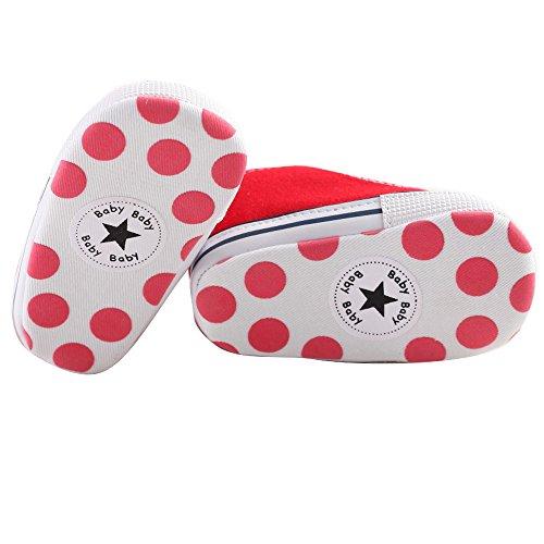 WAYLONGPLUS Anti Cute Trainer Soft Canvas Infant by Sneaker Shoes WAYLONGPLUS Prewalker Pink rot Size11 skid Toddler an4BC