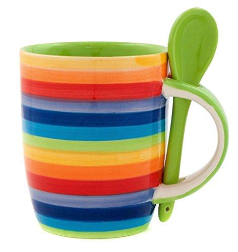 Windhorse Rainbow cerámica rayas grande café/taza para té Con Cucha