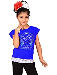 Sweet Angel Blue color round neck top with 23 no print on chest for girls