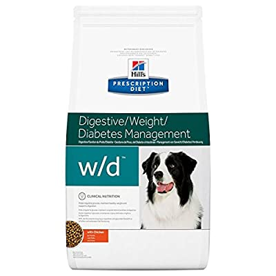 Hills Prescription Diet Canine w/d Digestive/Weight/Diabetes Management Dry Dog Food with Chicken, 12kg by Hill's