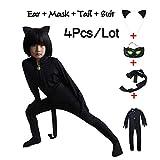 Shi18sport Cat , Noir Halloween Disfraz De Navidad para Niños Cosplay Ropa De Fiesta para Niños Máscara Disfraces Monos Conjunto, M
