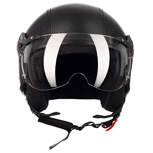 Westt® Classic X Leather · Casco Jet Pelle Nero Moto Scooter Motorino Chopper · Casco Moto Donna e Uomo Demi Jet Vintage · Omologato ECE