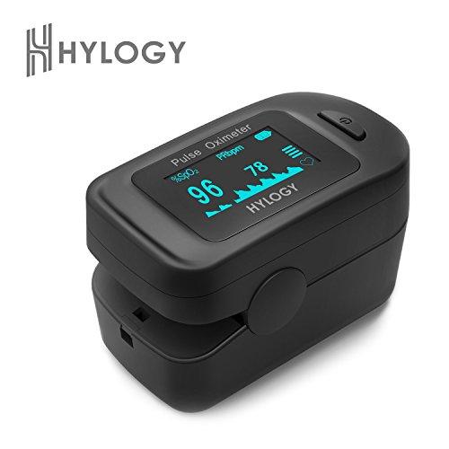 Hylogy Pulsoximeter digitale Blutsauerstoff- und Pulssensor-Messgerät mit großer OLED-Anzeige, erweiterte Funktionen automatische Abschaltung und schnelles Lesen für Kinder, Erwachsener und Sport Benutzung, Schweiz