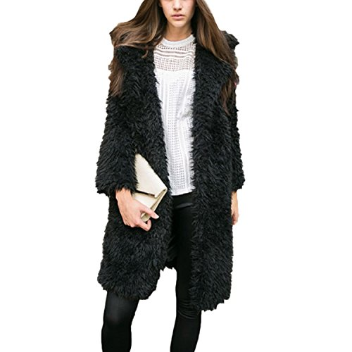 QQI hiver cardigans femmes Manteau Outwear adulte pardessus Trench-Coat Blazer classique vestes occasionnels Faux Fur Gilet Gilet (S-XL) Noir