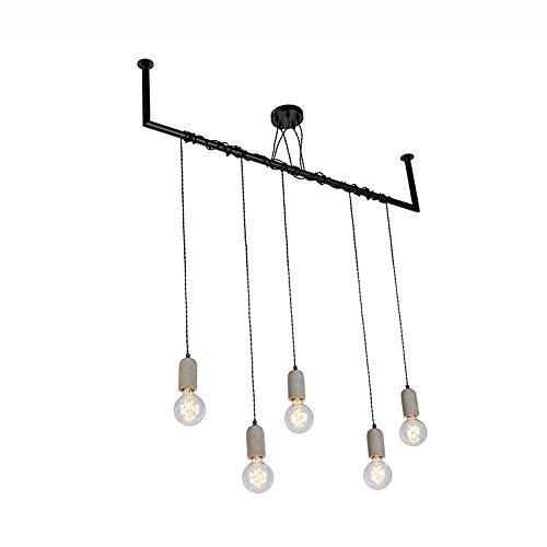QAZQA Industrie/Industrial Industrielle Esstisch/Esszimmer/Puristische Pendelleuchte/Pendellampe/Hängelampe/Lampe/Leuchte Beton 5-flammig mit Rohraufhängung - Cavoba/Innenbeleuchtung /