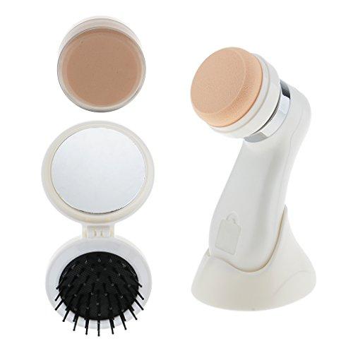 Sharplace Puff Houppettes à Poudre Electrique Eponge Mélangeur de Maquillage à Massage de Vibration pour Fondation de Poudre Fond de Teint avec Brosse à Cheveux - Appareil de Beauté