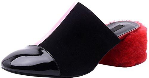 Calaier Femme Caclearly 5CM Bloc Glisser Sur Mules et sabots Chaussures Rouge