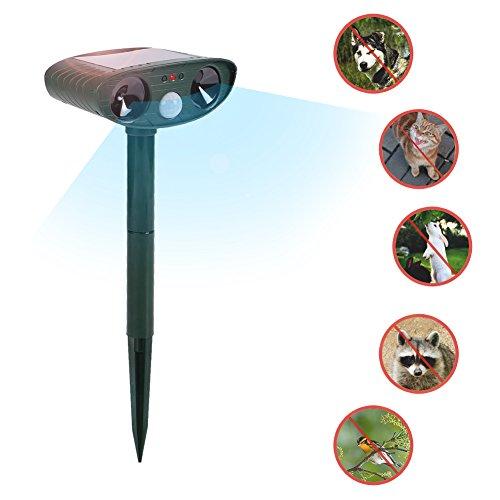 BovoYa Repelente ultrasónico con energía Solar Impermeabilizante al Aire Libre Sensor Flash Repelente de Insectos y ultrasonido para Vallas de Animales para Gatos Perros Ardilla Mapache