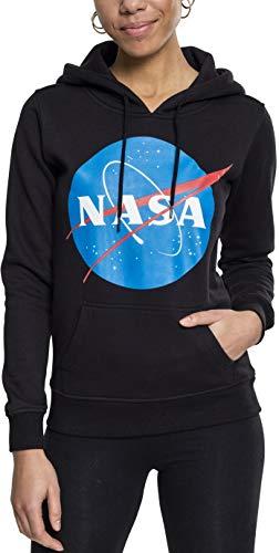 Mister Tee Ladies NASA Insignia Hoodie - Damen Streetwear Kapuzenpullover, Black, Größe XS