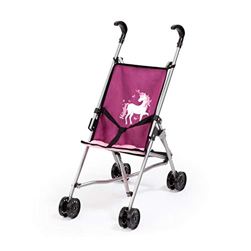 Bayer Design 30537AA Puppenbuggy, Puppenwagen mit integrierten Sicherheitsgurt, leicht faltbar, klappbar, pink, rosa, Einhornmotiv