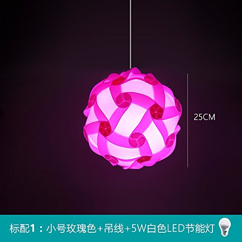 Bunte DIY Moderne IQ Puzzle Pendelleuchte Infinity Beleuchtung LED-Puzzle Ball Hängeleuchte ø 25 cm/30 cm/40 cm, Rose Rot