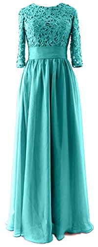 MACloth - Robe - Trapèze - Manches 3/4 - Femme Turquoise - Turquoise