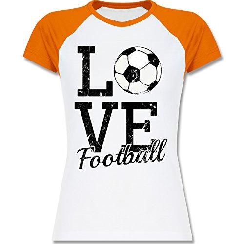 Fußball - Love Football - zweifarbiges Baseballshirt / Raglan T-Shirt für Damen Weiß/Orange