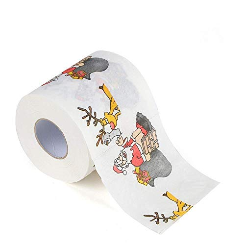 Bobopai Christmas Santa Claus Pattern Roll Paper 3 Layers Print Interesting Toilet Paper Table Kitchen Paper Towel Tissue Roll (A) 3/4 Base Layer Pants