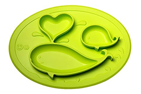 Smith's Mini Mat - One-Piece Silicone Placemat + Plate (Lime) + FREE Smith's Caterpillar Silicone (Piega Funghi)
