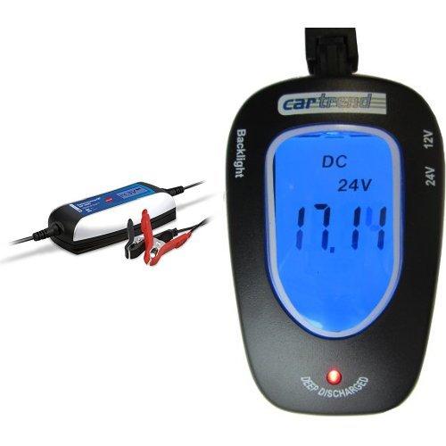 Preisvergleich Produktbild Cartrend 50264 Mikroprozessor-Batterieladegerät DP 4000, mit 7 Automatikstufen bis 4 Ampere Ladeleistung, Dauererhaltungsfunktion und Cartrend 80127 Batterie Tester 12 Volt/24 Volt, mit LCD Anzeige blau beleuchtet