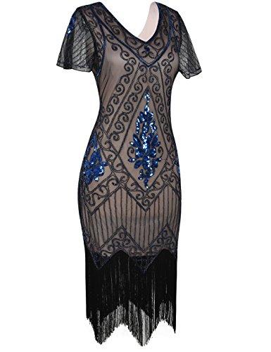 PrettyGuide Damen 1920er Charleston Kleid Pailetten Cocktail Flapper Kleid Mit Ärmel Blau Beige