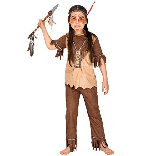 Mädchenkostüm Indianerin | inkl. Haarband mit Bordüre und einer Feder (12-14 Jahre | Nr. 300663) (Stamm Karneval Kostüme 2017)