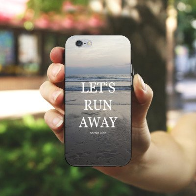 Apple iPhone 5s Housse Étui Protection Coque Mer Plage Lever de soleil Housse en silicone noir / blanc