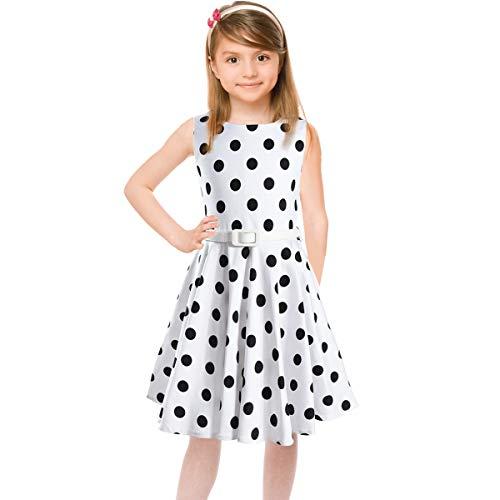 HBBMagic Maedchen Audrey 1950er Vintage Baumwolle Kleid Hepburn Stil Kleid Blumen Kleid Tupfen Kleid (9-10 Jahre/135-142CM, Weiß/Schwarz dot) (Und Schwarz Mädchen Für Weiß-kleider)