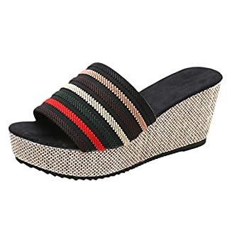 Yvelands Damen Slipper Hausschuhe Casual Wedge Sommer Slip-On High Heel Plateau Peep Toe Schuhe Sandalen(CN-40,Schwarz)