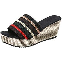 Sandali Estivi Donna con Zeppa Pantofole Domestiche Shopping Sandali Peep  Toe da Donna con Plateau E 0129b881fe4
