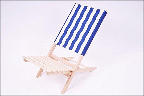 Klappstuhl holz strand  Holz Strandstuhl blau / weiß – leicht zu transportierender ...