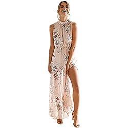 Amlaiworld_Vestidos largos Vestido Mujer Verano Mangas de Gasa de mujeresVestido Maxi Largo sin Espalda Casual Boho Vestidos de Playa Vestido de Fiesta de Noche (M, Rosado)