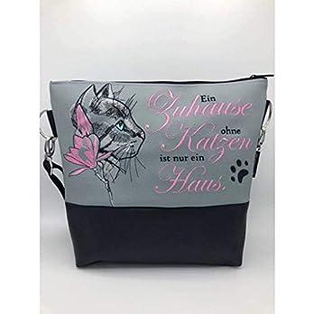 Handtasche ein Zuhause ohne Katze Schultertasche/Umhängetasche *bestickt
