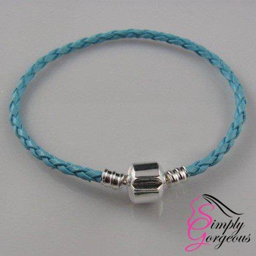Cuero verdadero de la pulsera del encanto de plata trenzado con el corchete plateado ... -Azul claro