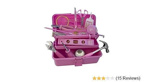 Werkzugset für Frauen pink Hammer Wasserwaage Rollmeter Cuttermesser Bleistift