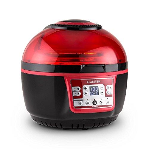Klarstein VitAir Turbo • Heißluftfritteuse • Fritteuse • 1400 Watt • 9 L Garraum • fett-frei Frittieren • Backen • Grillen • Rösten • Halogen-Infrarot-Heizelement • Automatikprogramme • rot-schwarz