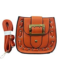 Maya Women's Synthetic Leather Sling Bag, Orange