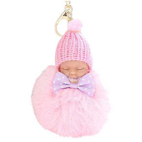 Niedlich Elegant Schlaf Baby Puppe Diamant Schlüsselanhänger Bowknot Plüsch Halter Pompoms Keychain Tasche Riemen Anhänger Mädchen...