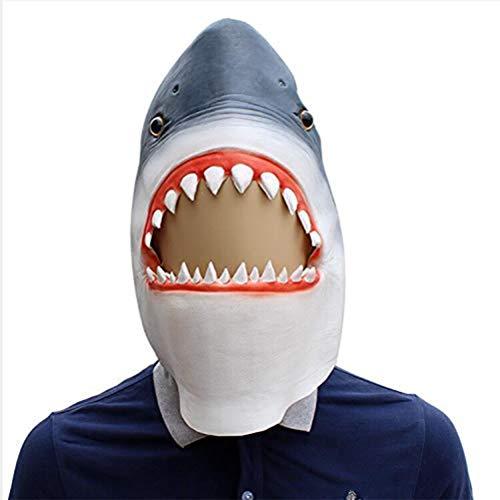 JHSHENGSHI Neuheit Tier Shark Maske Latex Head Set Männer Abendkleid-Partei Halloween 3D Tierkopf-Maske Latex Maske Horror Maske für Cosplay Partei-Kostüm-Abendkleid