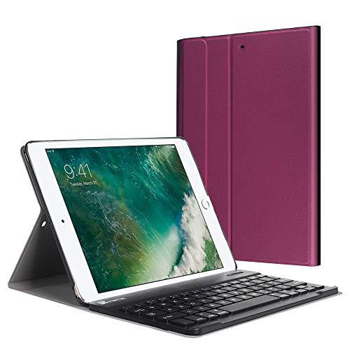Fintie Tastatur Hülle für iPad 9.7 Zoll 2018 2017 / iPad Air 2 / iPad Air - Ultradünn leicht Schutzhülle Keyboard Case mit magnetisch Abnehmbarer drahtloser Deutscher Bluetooth Tastatur, Lila