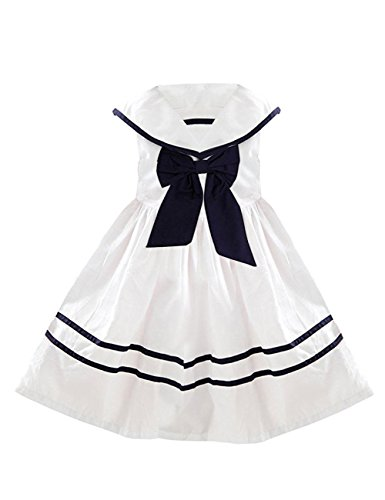 YJ.GWL Mädchen A-Linie Kleid Weiß Weiß Gr. 60, Weiß - (Size Dress Fancy Plus Sailor)